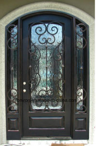 Eyebrow Top Steel Security Entry Door with Sidelights pictures & photos