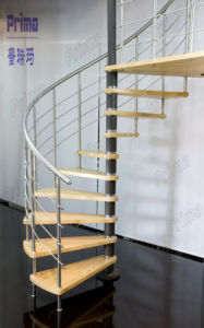 Custom Interior Wood Staircase Steel Wood Staircase Spiral Staircase Pr-S41 pictures & photos
