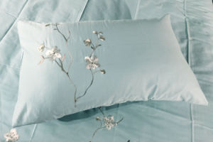 Light Green Plain Plum Blossom Embroidery Bedding Set pictures & photos