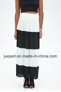 Fashion Pleated Striped Long Maxi Skirt with Invisible Seam Zipper pictures & photos