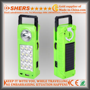 Rechargeable Solar LED Emergency Light with 1W Flashlight, USB (SH-1905)