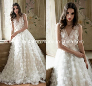 Organza Flower Bridal Wedding Gown Sheer V-Neckline Wedding Dresses Ld15255 pictures & photos