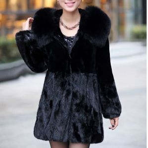 Hot Sale Genuine Mink Fur Coat with Fur Hood pictures & photos