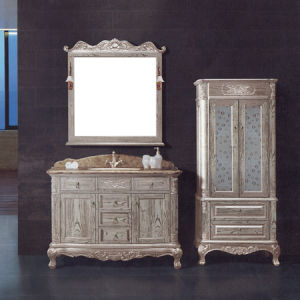 Thailand Oak Wood Classic Bathroom Vanity, Floor Standing Marble Top Champagne Wooden Vanity (ML-8913)