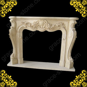 Nice Hand Carved Stone Fireplace in Eyyptian Cream Material pictures & photos