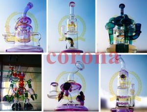 Glass Smoking Water Pipes Straight Tube Water Shisha Hookah Black Honeycomb Perc Pipe pictures & photos
