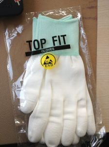 White PU Top Fit Safety Working Glove pictures & photos