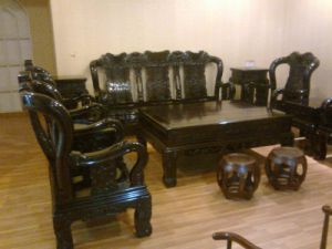 Antique Elbony Table and Chairs
