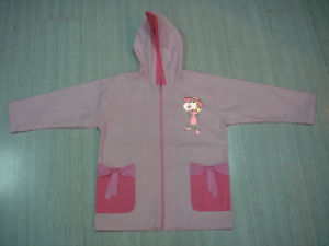 Pink Summer Hiking Thin Rain Jacket for Toddler Girls with Hood pictures & photos