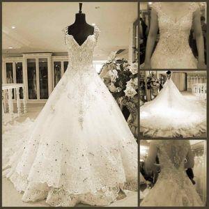 Custom Crystal Stones Wedding Dress Luxury Bridal Wedding Gown H13908 pictures & photos