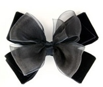Black Velvet Organza Hair Bow or Headband, Seasonal Hair Accessory (VB-03)