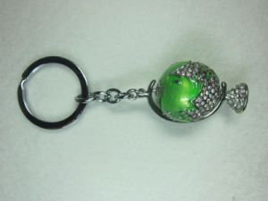 Metal Key Chain With Globe Pattern