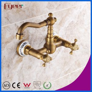 Fyeer Double Cross Handle Wall Mounted Antique Kitchen Faucet pictures & photos