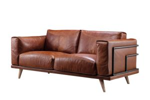 Antique Style Leather Chesterfield Sofa Set with Wood Legs (LS-002)