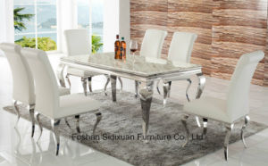 Modern Black Gloss Glass Stainless Steel Dining Table Set with Chair pictures & photos