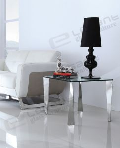60X60 Glass Top Table with Stainless Steel Support pictures & photos