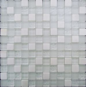 White Crystal with Stone Mixed in Mosaic Decor Wall Tile pictures & photos