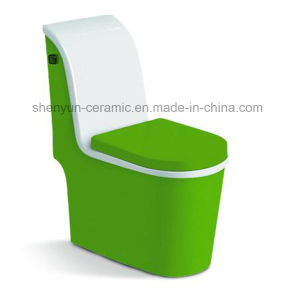 One-Piece Ceramic Color Toilet Siphonic Flushing S-Trap (A-012) pictures & photos