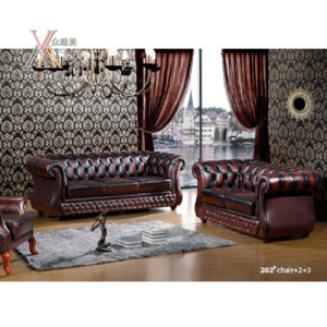 Antique Style Leather Sofa Set (202) pictures & photos