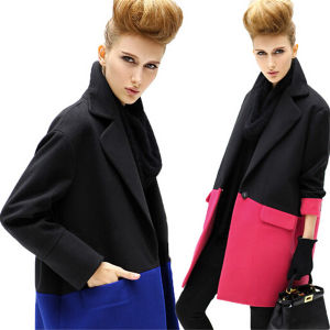 Fashion Medium-Long Splicing Notched Lapel Single Breasted Women Overcoat (50013-1) pictures & photos