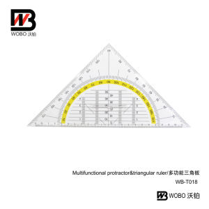 Multifunctional Protractor and Triangular Plastic Ruler for Office Stationery