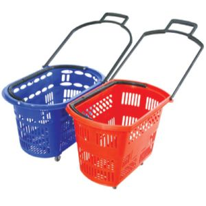 with 4 Wheels for Supermarket Plastic Rolling Shopping Basket pictures & photos