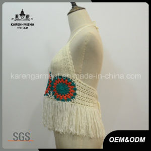 Ladies Fringed Halter Crochet Plus Size Bathing Suit pictures & photos
