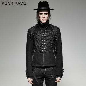Y-721 Steampunk Men Black Rugged Denim Fabric Removable Sleeves Short Jacket pictures & photos