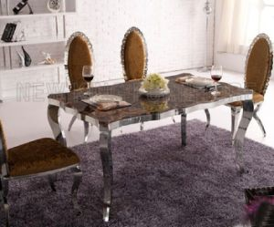 Modern Europe Luxurious Marble Top Stainless Steel Foot Dining Furniture Set (NK-DT081) pictures & photos