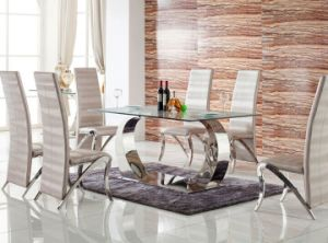 European Style Glass Dining Table Set with Chair (SDT-007)