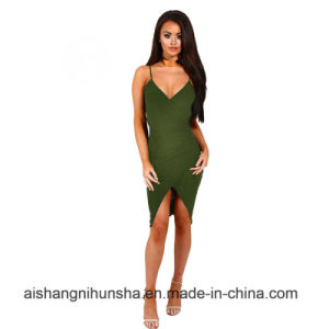 Sexy Strap Women Backless Wrap Evening Mini Short Gowns pictures & photos