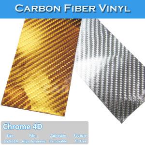 Gold Silver 4D Chrome Vinyl Carbon Fiber Car Wrap Decals