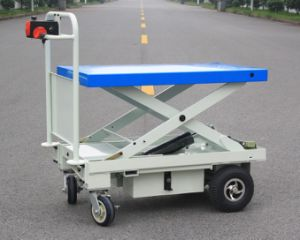 Powered Hand Lift Trolley with One Cylinder&Scissor and Big Wheels (HG-1090) pictures & photos