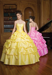 Beaded Ruffle Tulle Prom Dress Quinceanera Gowns Ball Dresses, Customized