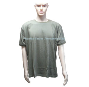 Green Men Cotton T Shirt with Rib Collar&Sleeve pictures & photos