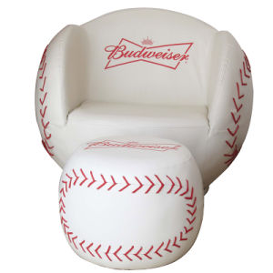 Baseball Kids Sofa with Stool/Kids Furniture with Ottoman pictures & photos