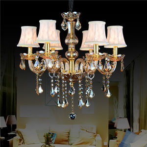 Crystal Candle Chandelier Td-J8045 with Fabric Shade