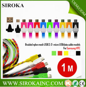 with Ce RoHS Approved Fabric Braided Sync Charge Colorful Micro USB Cable for Cellphone pictures & photos