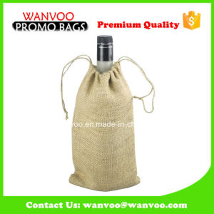OEM Single Drawstring Jute Burlap Wine Bag pictures & photos