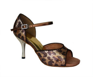 Women′s Golden Leopard Sequin Latin Dance Shoes pictures & photos