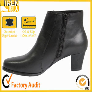 Good Quality Black Top Grade Women Military Police Office Shoes pictures & photos