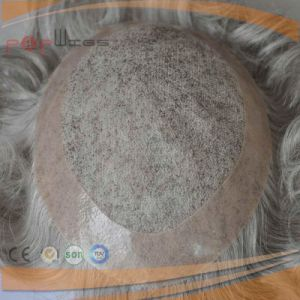 Human Grey Hair Poly Coated Border Mens System, Hair Piece pictures & photos