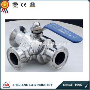 Stainless Steel Clamped Three Ways Ball Valve pictures & photos