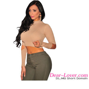 Fashion Nude Ribbed Knit Cut out Sleeves Crop Top pictures & photos