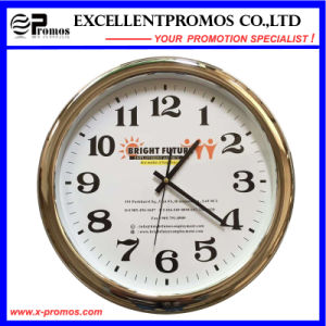 Custom Logo Printing Round Plastic Silver Frame Wall Clock (Item23) pictures & photos