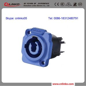 20A 500V Panel Mount Input Blue Socket Powercon pictures & photos