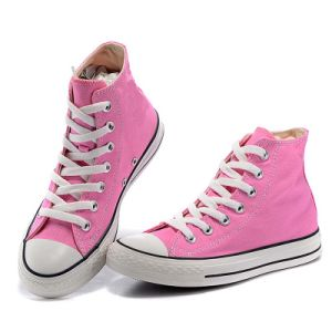 High/Low Cut Lace-up Pink Cheap Casual Canvas Shoe for Women/Lady pictures & photos