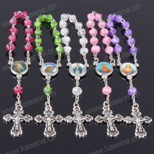 Colorful Frosted Glass Beads Catholic Prayer Beaded Rosary Bracelet
