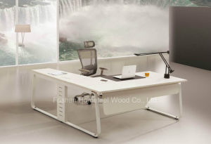 Fashion L Shape White Manager Director Office Table (HF-YZ0061) pictures & photos