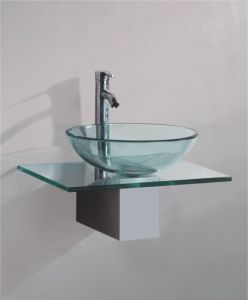 Solid Wood Bracket Glass Wash Basin (7060) pictures & photos